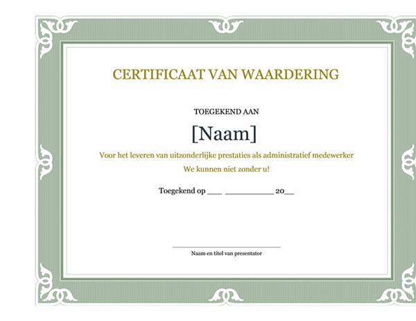 Certificat d'excellence pour performances administratives