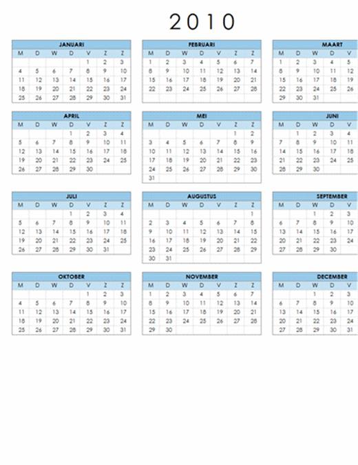 Kalender 2010 (1 pagina, liggend, ma-zo)