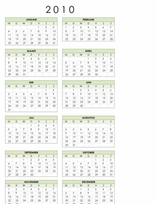 Kalender 2010 (1 pagina, staand, ma-zo)