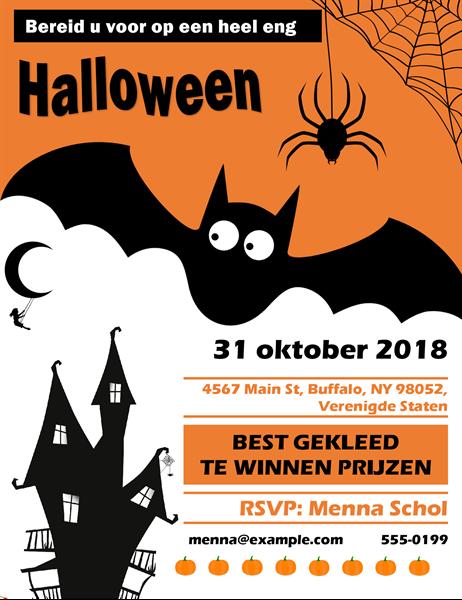Folder voor Halloween-feest met griezelige vleermuizen