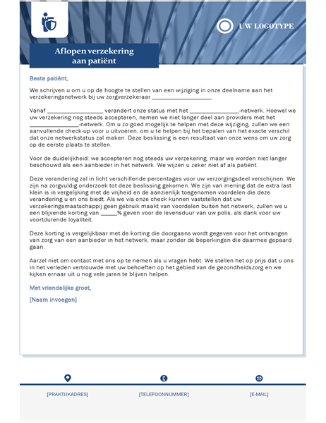 Brief beëindiging van een ziektekostenverzekering