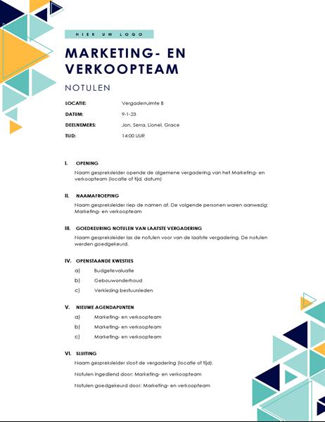 Agenda met driehoeken