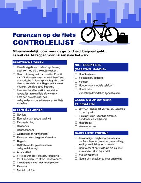 Liste de contrôle Trajets domicile-travail à vélo