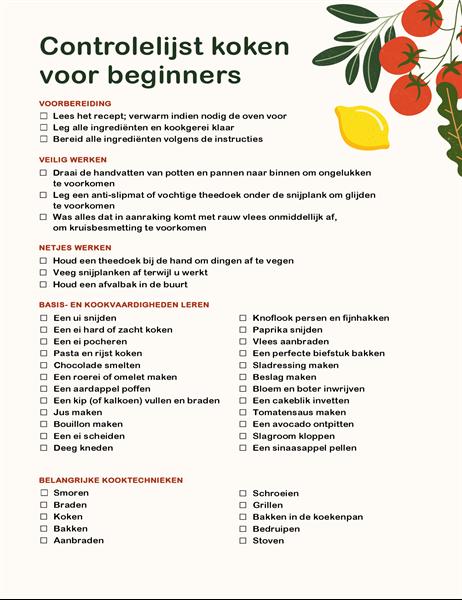 Liste de contrôle Fondamentaux de la cuisine
