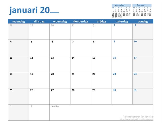 Maandelijkse kalender voor elk jaar
