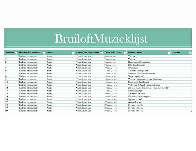 Muzieklijst bruiloft