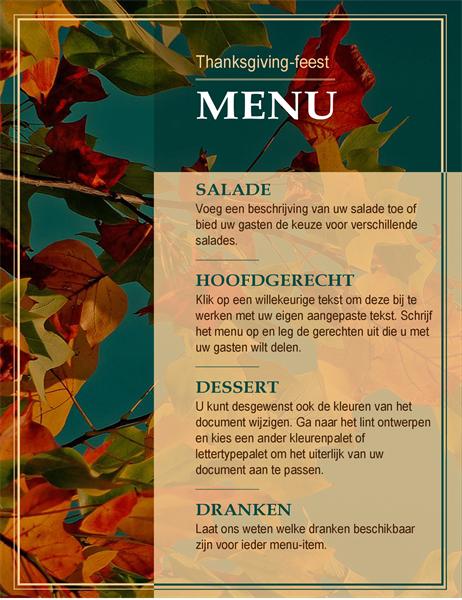 Thanksgiving-menu met herfstbladeren
