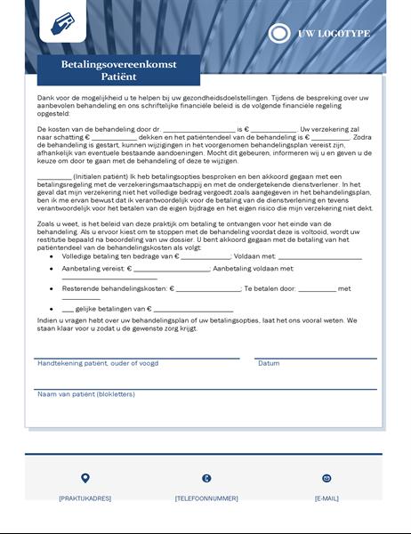 Betalingsovereenkomst gezondheidszorg voor patiënten