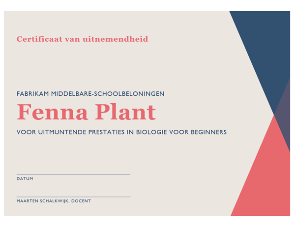 Certificaat voor middelbare-schoolprestaties