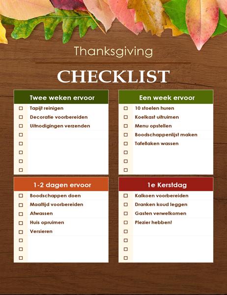 Liste de contrôle pour Thanksgiving