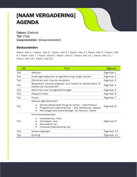 Ordre du jour de réunion pédagogique