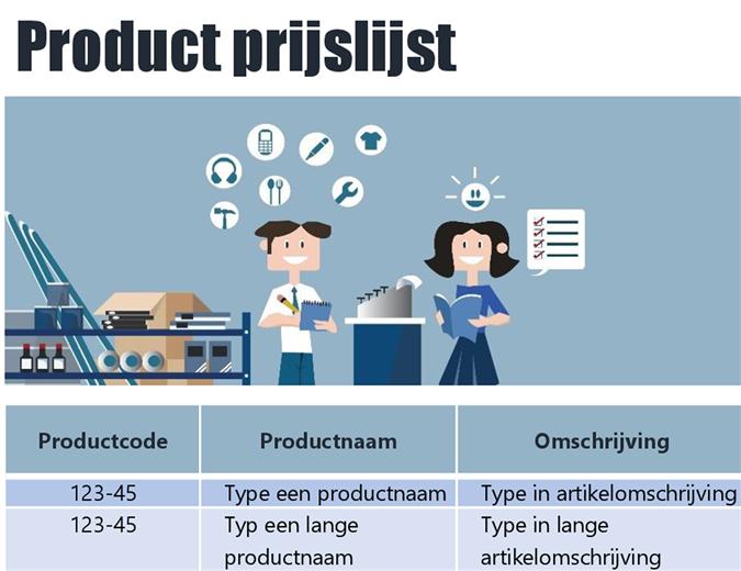 Blauwe productenprijslijst