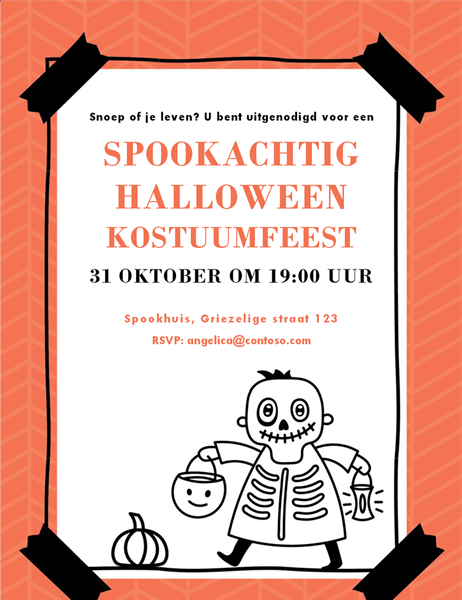 Halloween-uitnodiging met skelet