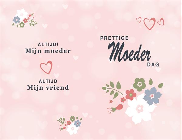 Een roze moederdagkaart