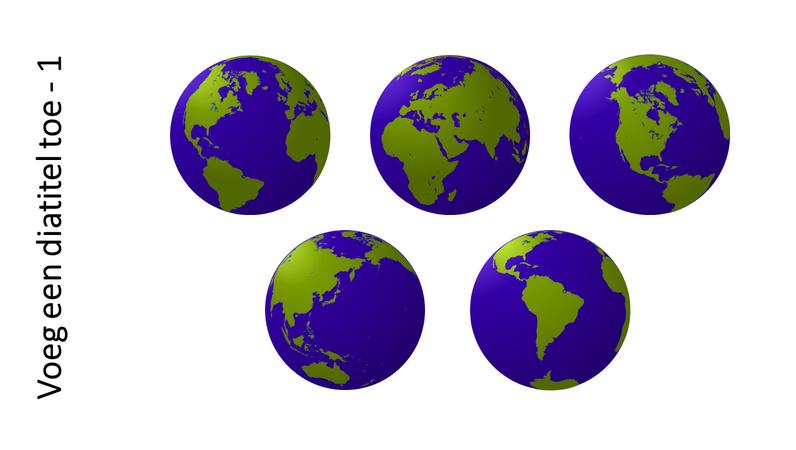 Graphic met vijf weergaven van een globe