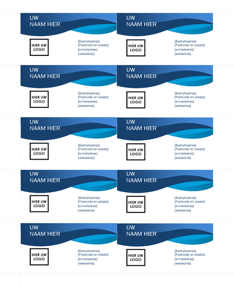 Blauwe visitekaartjes met curve