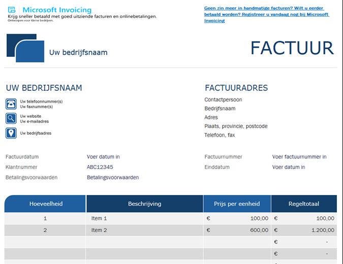 Standaardfacturering met Microsoft Invoicing