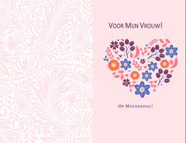Moederdagkaart met bloemenhart