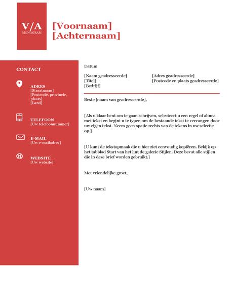 Begeleidende brief vet monogram