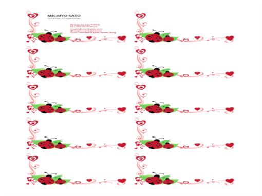Visitekaartjes (lieveheersbeestjes en hartjes, links uitgelijnd, 10 per pagina)