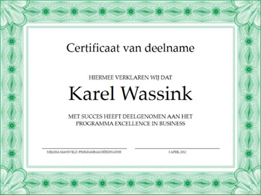 Certificaat van deelname (groen)