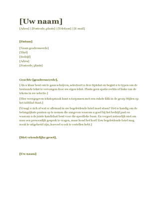 Begeleidende brief bij cv (groen)
