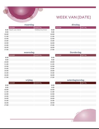 Roze suite-agenda voor dagelijkse afspraken