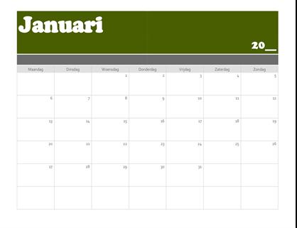 Kalender met spandoek