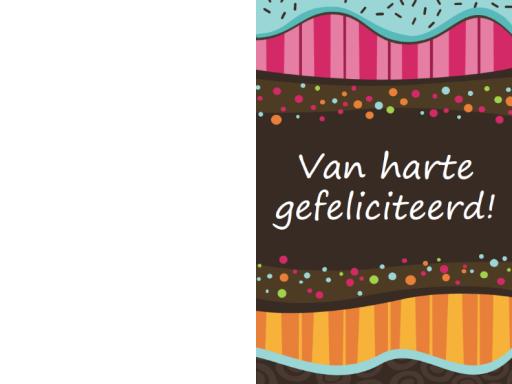 Verjaardagskaart - stippen en strepen (kinderen, dubbelgevouwen)