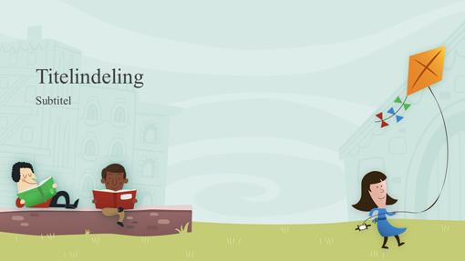 Onderwijspresentatie met kinderen op het schoolplein, album (breedbeeld)