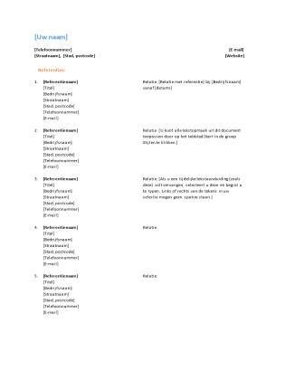 Referentielijst voor cv (functioneel ontwerp)