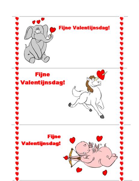 Valentijnskaart (3 per pag.)