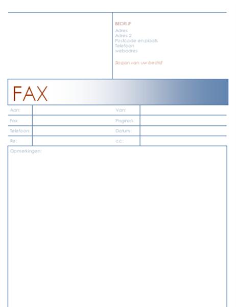 Faxvoorblad (thema met blauw)