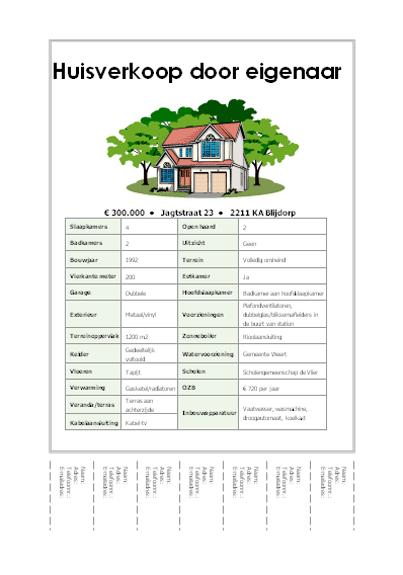 Folder huisverkoop met afscheurstrookjes