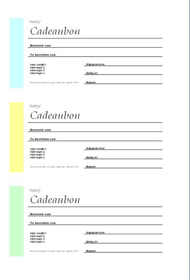 Cadeaubon (verschillende kleuren, 3 onder elkaar)