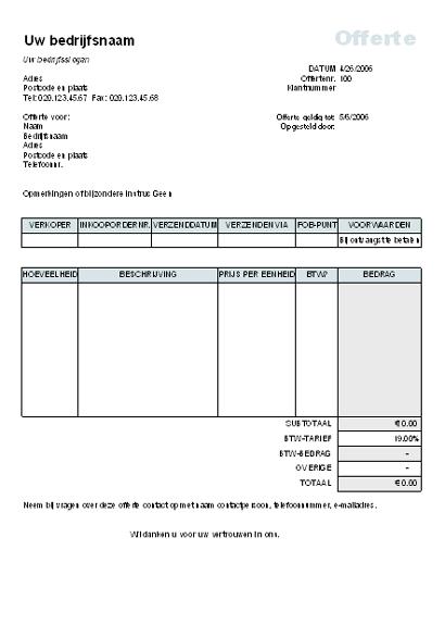 Offerte met berekening van BTW