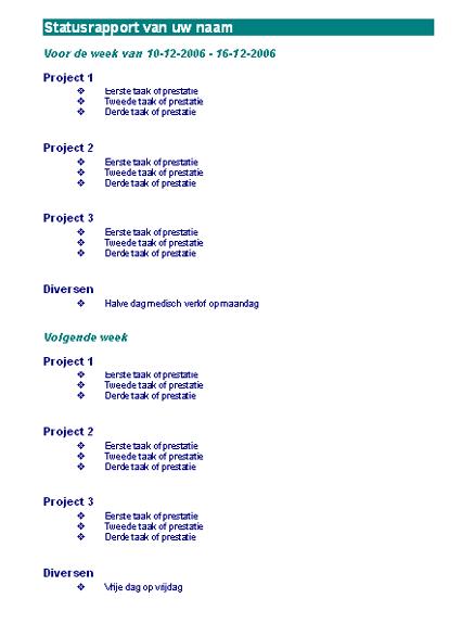 Wekelijks statusrapport van medewerker