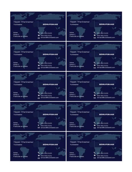 Visitekaartjes met kaart (10 per pagina)