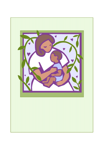 Kaart voor moederdag (met moeder en kind)