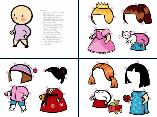 Papieren poppetjes (meisje, set 3)