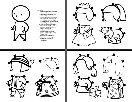 Papieren poppetjes (meisje, om in te kleuren)