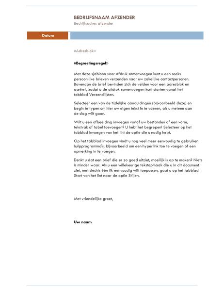 Brief voor afdruk samenvoegen (thema Mediaan)