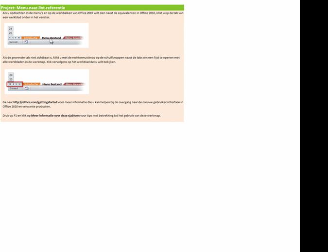 Project 2010: naslagwerkmap voor menu's en het lint