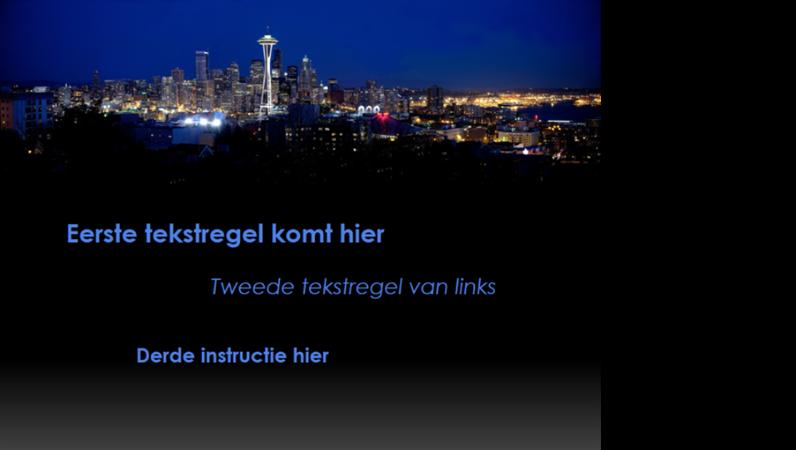 Geanimeerde bijschriften bewegen over het scherm en veranderen van kleur met de skyline van Seattle als achtergrond