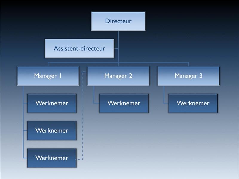 Animatie met een verticaal organigram