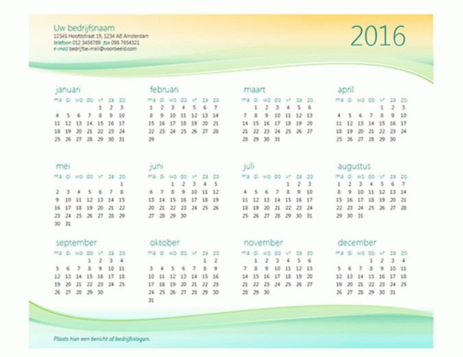 Kleine bedrijfskalender (elk jaar)