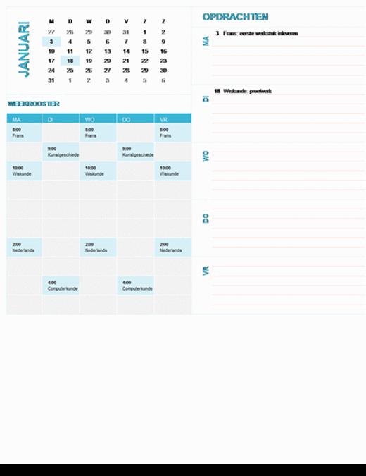 Wekelijkse planningskalender voor studenten (willekeurig jaar, ma-zo)