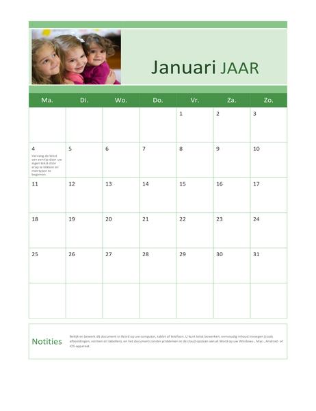 Fotokalender voor familie (elk jaar)
