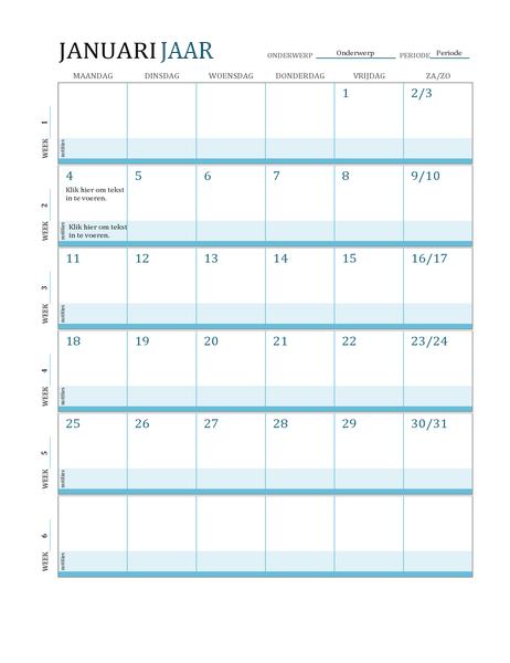 Kalender met lesrooster