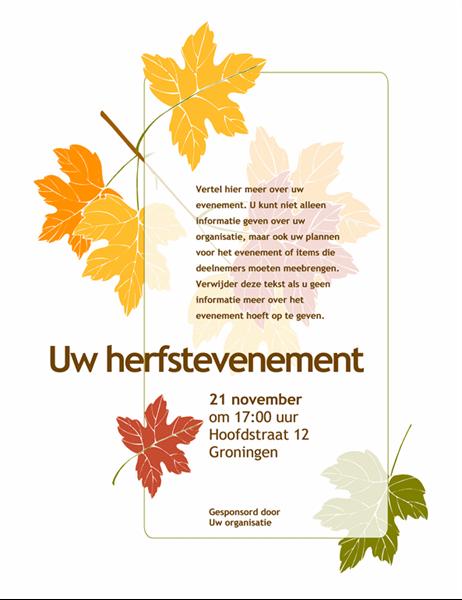 Folder voor herfstevenement (met bladeren)